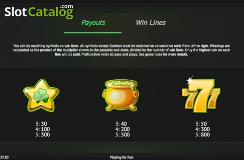 Paytable 3. Pots of Luck (Video Slot from 1X2gaming)