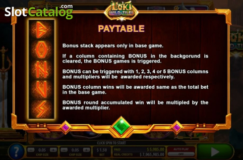 Bonus stack. Loki Wild Tiles (2BY2 Gaming) (Video Slots from 2by2 Gaming)