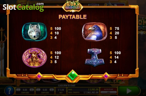 Paytable 2. Loki Wild Tiles (2BY2 Gaming) (Video Slots from 2by2 Gaming)
