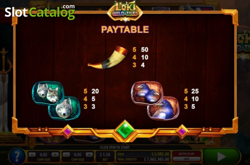Paytable 3. Loki Wild Tiles (2BY2 Gaming) (Video Slots from 2by2 Gaming)