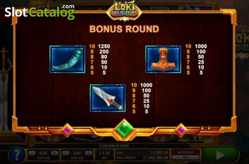 Paytable 5. Loki Wild Tiles (2BY2 Gaming) (Video Slots from 2by2 Gaming)