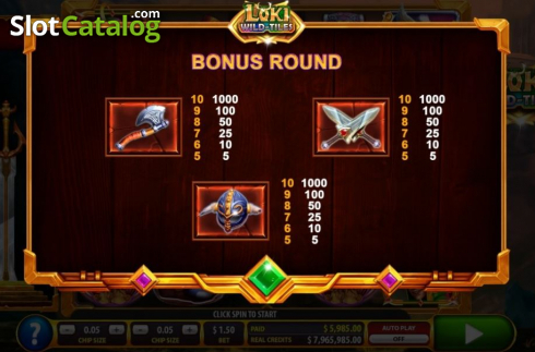 Paytable 6. Loki Wild Tiles (2BY2 Gaming) (Video Slots from 2by2 Gaming)