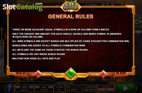 Game rules. Loki Wild Tiles (2BY2 Gaming) (Video Slots from 2by2 Gaming)