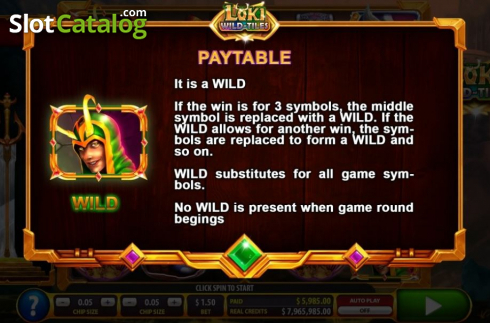 Wild symbol. Loki Wild Tiles (2BY2 Gaming) (Video Slots from 2by2 Gaming)