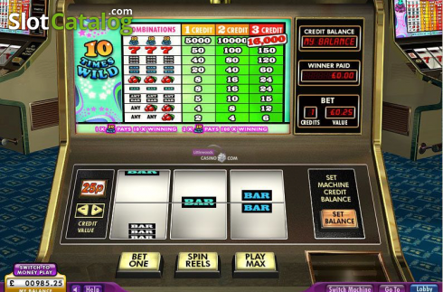 Screen. 10 Times Wild (Video Slot from 888 Gaming)