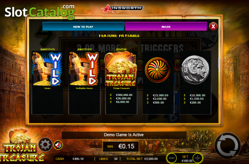 Paytable 5. Trojan Treasure (Video Slot tól től Ainsworth)