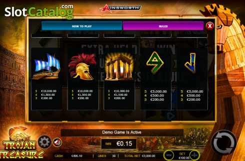 Paytable 6. Trojan Treasure (Video Slot tól től Ainsworth)