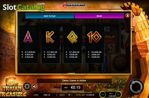 Paytable 7. Trojan Treasure (Video Slot tól től Ainsworth)
