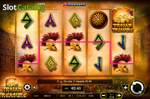 2. képernyő. Trojan Treasure (Video Slot tól től Ainsworth)