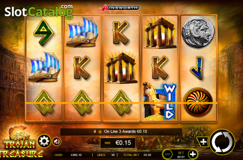 3. képernyő. Trojan Treasure (Video Slot tól től Ainsworth)