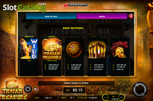 Paytable 2. Trojan Treasure (Video Slot tól től Ainsworth)