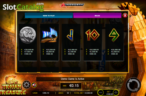 Paytable 3. Trojan Treasure (Video Slot tól től Ainsworth)
