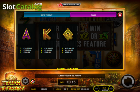 Paytable 4. Trojan Treasure (Video Slot tól től Ainsworth)