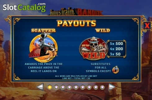 Paytable 1. Bonus Train Bandits (Video Slot from Ash Gaming)
