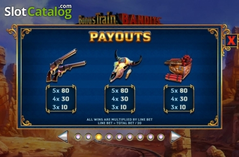Paytable 3. Bonus Train Bandits (Video Slot from Ash Gaming)