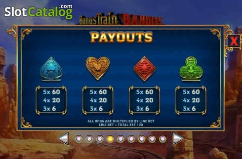 Paytable 4. Bonus Train Bandits (Video Slot from Ash Gaming)