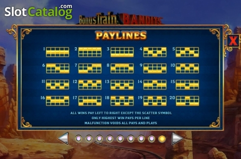 Paylines. Bonus Train Bandits (Video Slot from Ash Gaming)