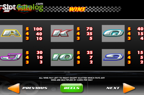 Screen4. Jackpot GT Race to Vegas (Video Slots from Ash Gaming)