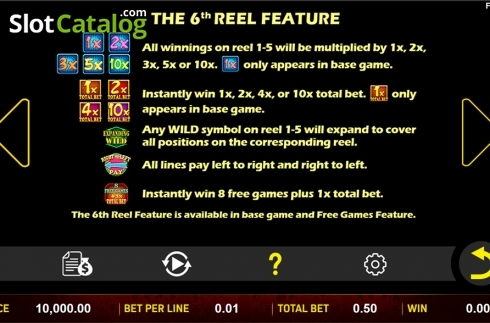 Paytable 6. 5 Lucky Elements (Video Slot from Aspect Gaming)
