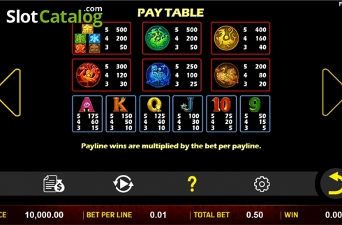 Paytable . 5 Lucky Elements (Video Slot from Aspect Gaming)