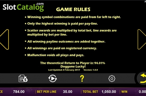 Paytable 8. Doggone Lucky (Video Slot from Aspect Gaming)