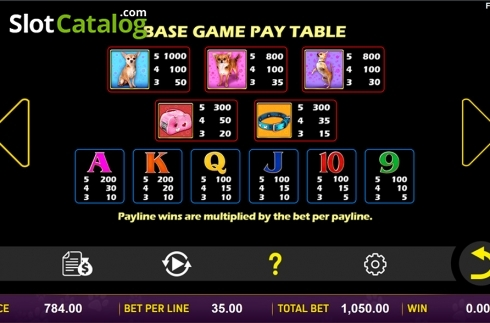 Paytable . Doggone Lucky (Video Slot from Aspect Gaming)