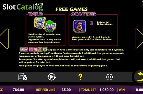 Paytable 4. Doggone Lucky (Video Slot from Aspect Gaming)