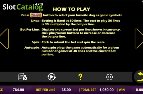 Paytable 6. Doggone Lucky (Video Slot from Aspect Gaming)