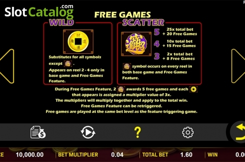 Paytable 2. Eternal Fortune (Video Slot from Aspect Gaming)