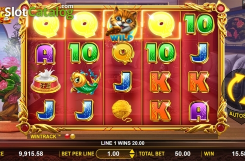 Win screen . Hungry Cats (Video Slot from Aspect Gaming)