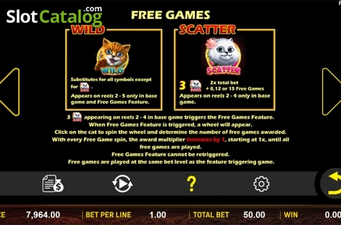 Paytable 2. Hungry Cats (Video Slot from Aspect Gaming)