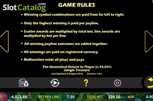 Paytable 7. Jungle Treasure (Aspect Gaming) (Video Slot from Aspect Gaming)