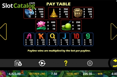 Paytable . Jungle Treasure (Aspect Gaming) (Video Slot from Aspect Gaming)