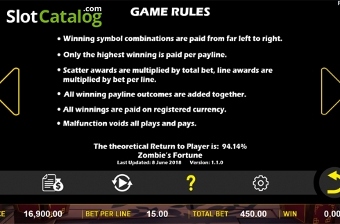 Paytable 6. Zombie's Fortune (Video Slots from Aspect Gaming)