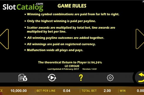 Paytable 6. Le Cirque (Video Slot from Aspect Gaming)