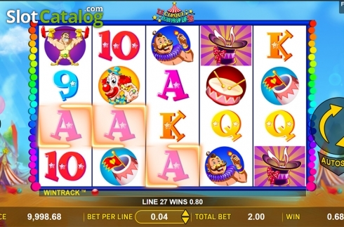 Win screen . Le Cirque (Video Slot from Aspect Gaming)