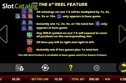 Paytable 6. Sheng Xiao Chuan Qi (Video Slot from Aspect Gaming)