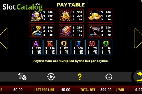 Paytable . Sheng Xiao Chuan Qi (Video Slot from Aspect Gaming)