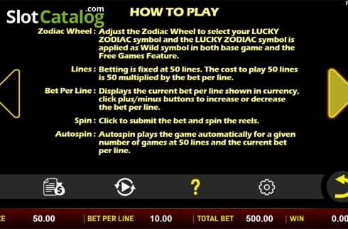 Paytable 4. Sheng Xiao Chuan Qi (Video Slot from Aspect Gaming)