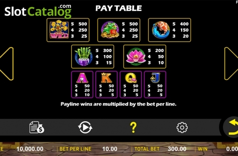 Paytable . Jin Qian Bao (Video Slot from Aspect Gaming)