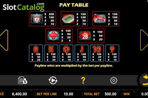 Paytable. Liverpool Football Club Slots (Video Slots from Aspect Gaming)