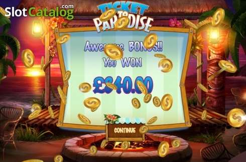 Bonus Game Win. Ticket to Paradise (Video Slot from Asylum Labs Inc.)