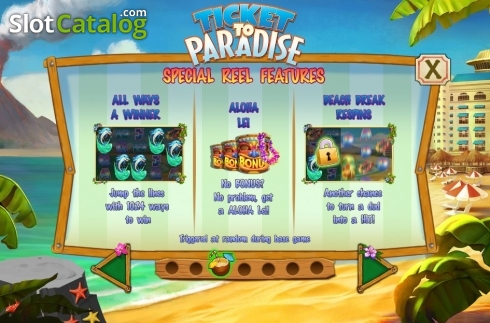 Features. Ticket to Paradise (Video Slot from Asylum Labs Inc.)