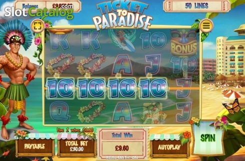 Win Screen. Ticket to Paradise (Video Slot from Asylum Labs Inc.)