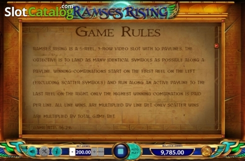 Game Rules 1. Ramses Rising (Video Slot from BF games)