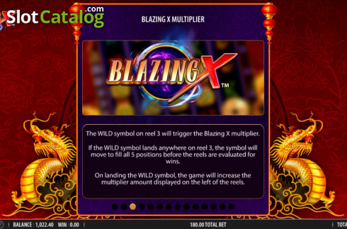 Skärm12. Blazing X (Video Slot från Bally)