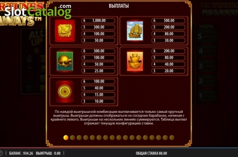 Paytable 1. 88 Fortunes Megaways (Video Slots from Shuffle Master)
