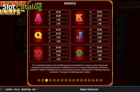 Paytable 3. 88 Fortunes Megaways (Video Slots from Shuffle Master)