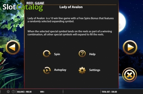 Info. Lady of Avalon (Video Slot from Barcrest)