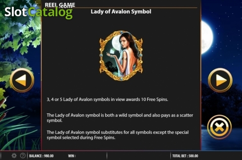 Features. Lady of Avalon (Video Slot from Barcrest)
